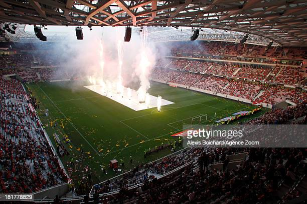 Animations for the new stadium during the French Football League 1 match between OGC Nice and Valenciennes FC on September 22 2013 in Nice France