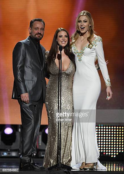 Animator and adult film actor Alec Knight and adult film actresses Angela White and Alexa Grace present an award during the 2017 Adult Video News...