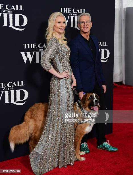 Animator Chris Sanders Buck the dog and guest arrive for Disney's The Call of the Wild premiere at El Capitan theatre in Hollywood California on...
