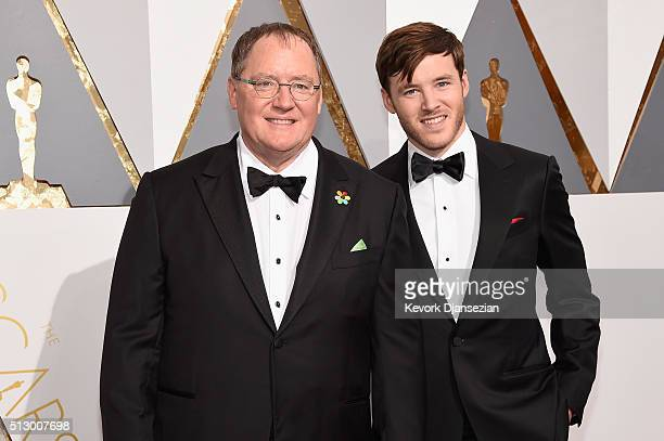 Animator John Lasseter and Bennett Lasseter attend the 88th Annual Academy Awards at Hollywood Highland Center on February 28 2016 in Hollywood...