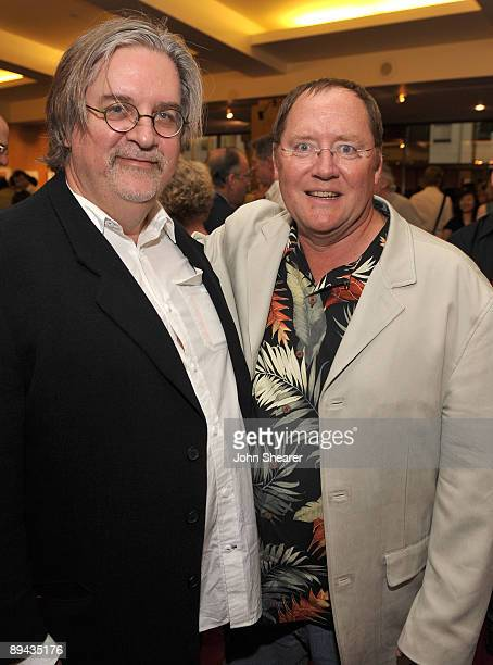 Animator Matt Groening and John Lasseter chief creative officer of Pixar and Disney Animation Studios attend AMPAS' 14th Annual Marc Davis...