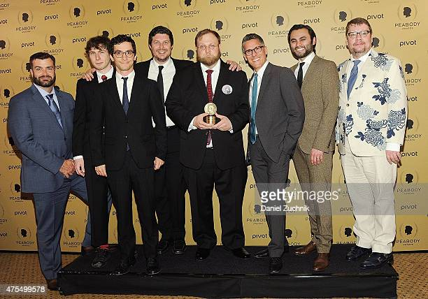 Animator Pendleton Ward poses with award and guests at The 74th Annual Peabody Awards Ceremony at Cipriani Wall Street on May 31 2015 in New York City