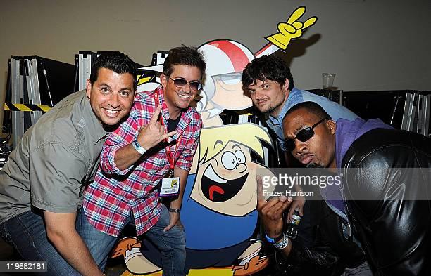 "Animator Sandro Corsaro, actor Charlie Schlatter, Matt L. Jones and NBA basketball player Dwight Howard attend Disney XD'S ""Kick Buttowski Suburban..."