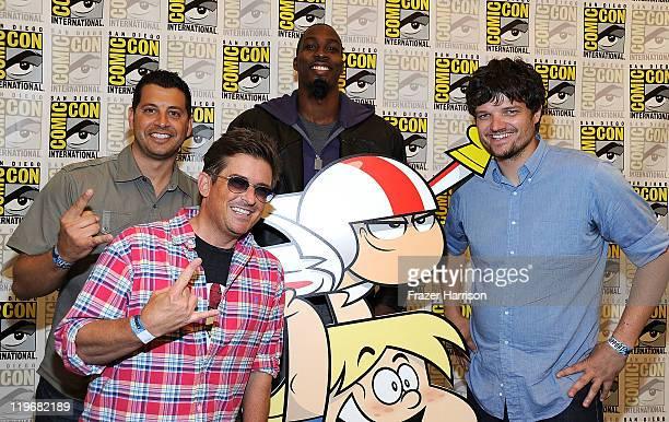 "Animator Sandro Corsaro, actor Charlie Schlatter, NBA basketball player Dwight Howard and actor Matt L. Jones attend Disney XD'S ""Kick Buttowski..."