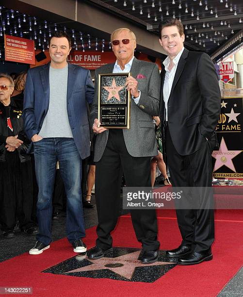 Animator Seth McFarlane actor Adam West and radio personality Ralph Garman at the Adam West Star ceremony on the Hollywood Walk of Fame on April 5...