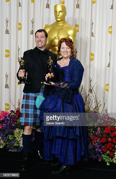 Animators Mark Andrews and Brenda Chapman pose in the press room during the Oscars at the Loews Hollywood Hotel on February 24, 2013 in Hollywood,...