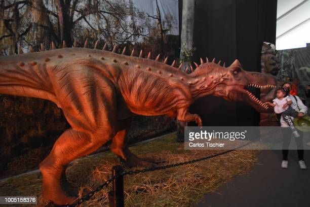 A animatronic of a Dinosaur looks during a tour as part of the exhibition 'Dinasaurios Animatronicos' at Parque Naucalli on July 21 2018 in Naucalpan...