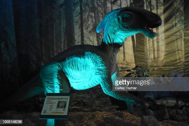 A animatronic of Parasaurolophus looks during a tour as part of the exhibition 'Dinasaurios Animatronicos' at Parque Naucalli on July 21 2018 in...