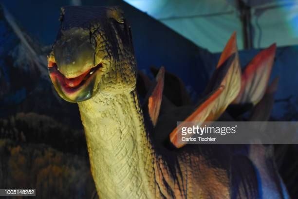 A animatronic of Stegosaurus looks during a tour as part of the exhibition 'Dinasaurios Animatronicos' at Parque Naucalli on July 21 2018 in...