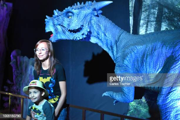 A animatronic of Stygimoloch looks during a tour as part of the exhibition 'Dinasaurios Animatronicos' at Parque Naucalli on July 21 2018 in...