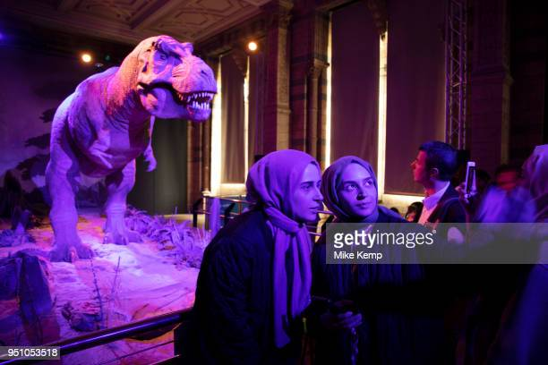Animatronic Tyrannosaurus and visitors at the dinosaurs exhibition room at the Natural History Museum in London England United Kingdom The T rex is a...