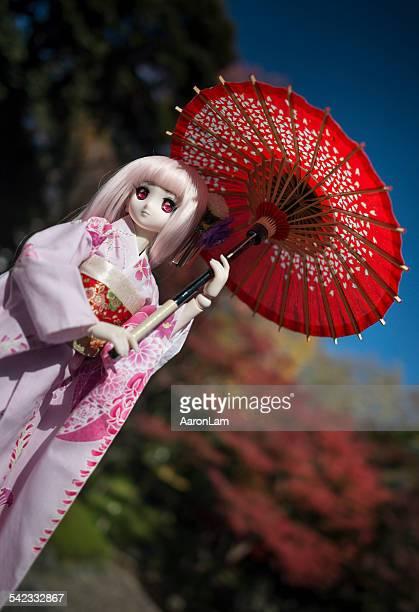 Anime Doll in Kimono with Red Umbrella