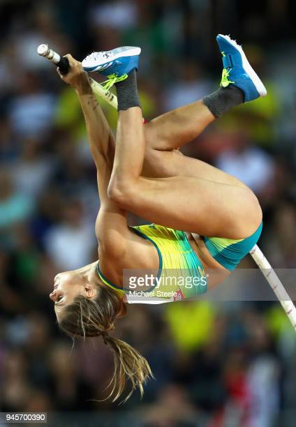 ANina Kennedy of Australia competes in the Women's Pole Vault during athletics on day nine of the Gold Coast 2018 Commonwealth Games at Carrara...