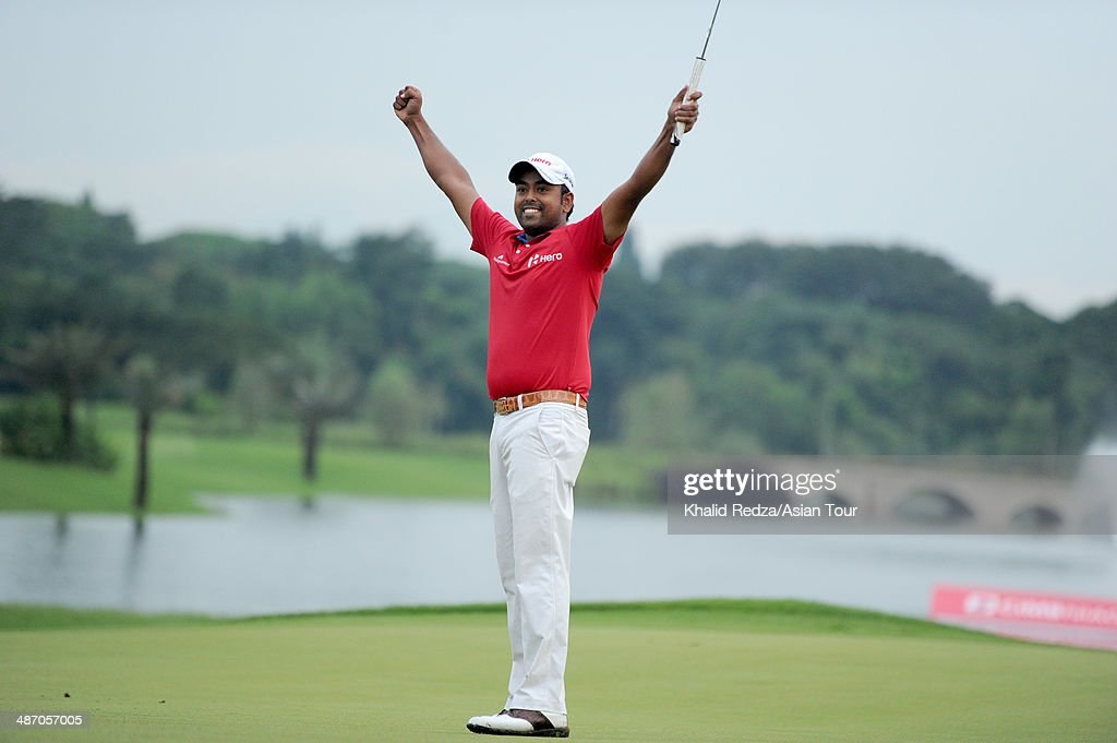 Anirban Lahiri of India celebrating his victory during round four of the CIMB Niaga Indonesian Masters at Royale Jakarta Golf Club on April 27, 2014 in Jakarta, Indonesia.