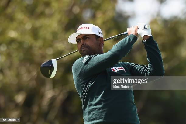 Anirban Lahiri of India hits his tee shot on the 9th hole during the final round of the CJ Cup at Nine Bridges on October 22 2017 in Jeju South Korea
