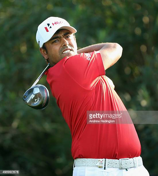 Anirban Lahiri of India hits his teeshot on the 18th hole during the second round of the WGC HSBC Champions at the Sheshan International Golf Club on...