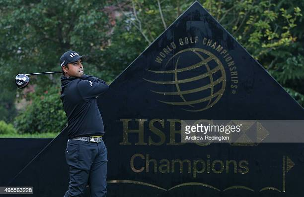 Anirban Lahiri of India hits his teeshot on the first hole during the Pro Am event prior to the start of the WGC HSBC Champions at the Sheshan...