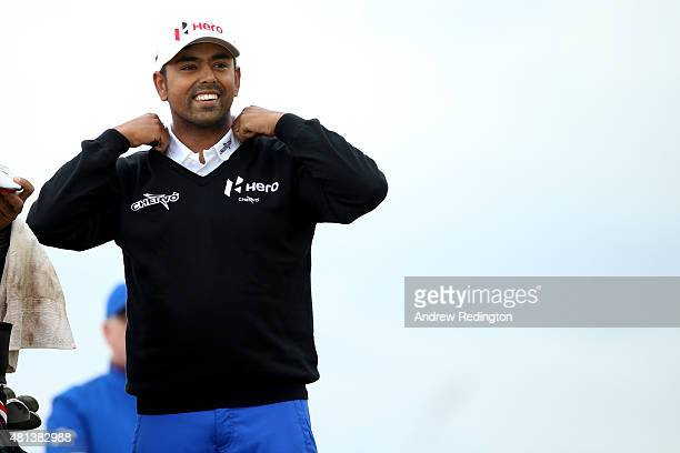 Anirban Lahiri of India looks on as he tees off on the 6th hole during the final round of the 144th Open Championship at The Old Course on July 20...