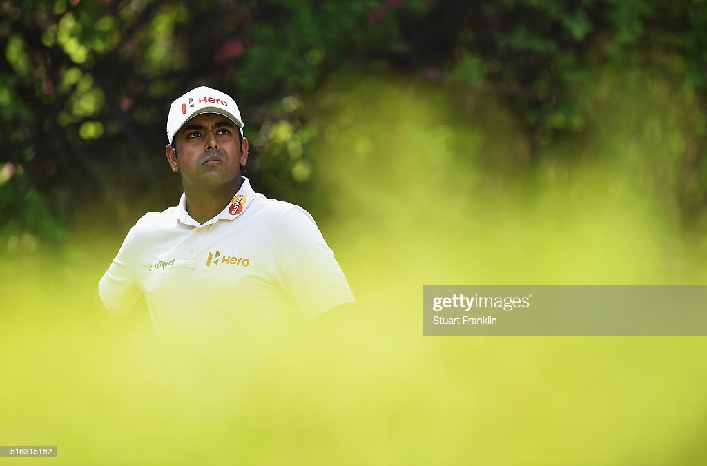 Anirban Lahiri of India looks on during the second round of the Hero Indian Open at Delhi Golf Club on March 18, 2016 in New Delhi, India.