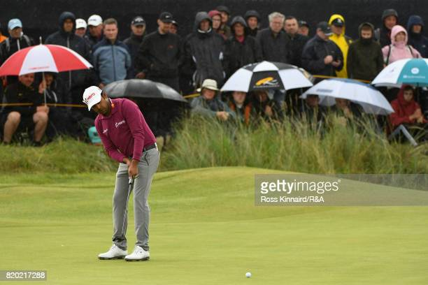 Anirban Lahiri of India piutts during the second round of the 146th Open Championship at Royal Birkdale on July 21 2017 in Southport England