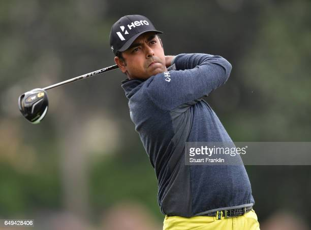 Anirban Lahiri of India plays a shot during the pro am prior to the start of the Hero Indian Open at Dlf Golf and Country Club on March 8 2017 in New...