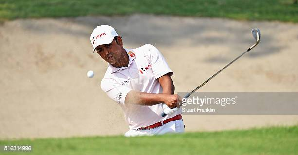Anirban Lahiri of India plays a shot during the second round of the Hero Indian Open at Delhi Golf Club on March 18 2016 in New Delhi India