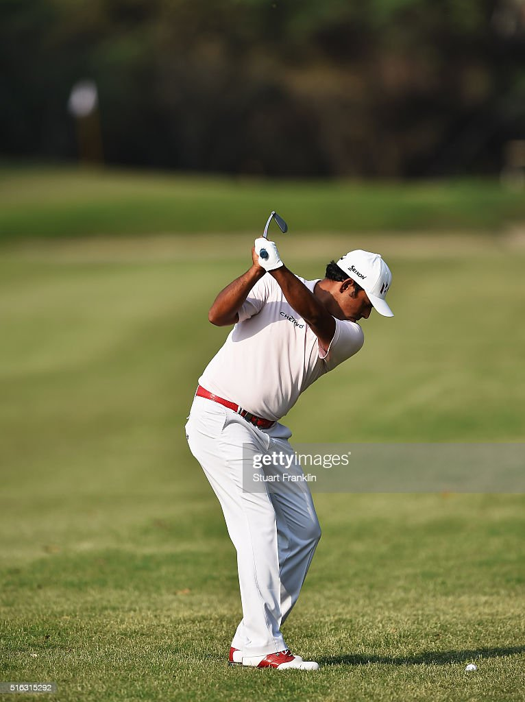 Anirban Lahiri of India plays a shot during the second round of the Hero Indian Open at Delhi Golf Club on March 18, 2016 in New Delhi, India.