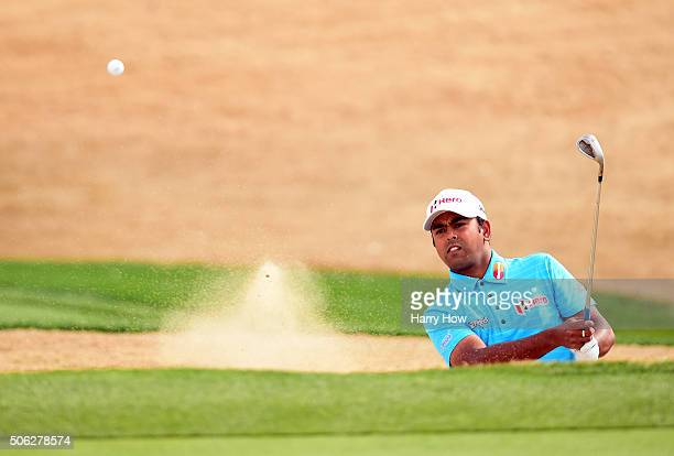 Anirban Lahiri of India plays a shot from the bunker on the 17th hole during the second round of the CareerBuilder Challenge In Partnership With The...