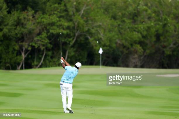 Anirban Lahiri of India plays a shot on the 16th hole during the first round of the Mayakoba Golf Classic at El Camaleon Mayakoba Golf Course on...