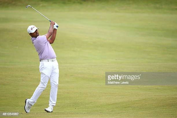 Anirban Lahiri of India plays his second shot on the 4th hole during the second round of the 144th Open Championship at The Old Course on July 17...