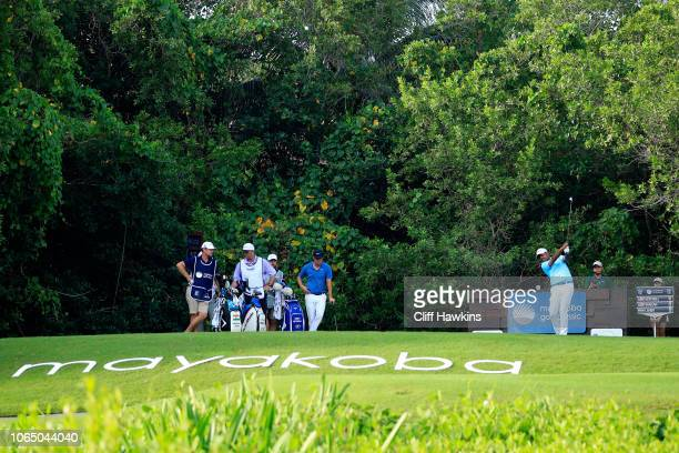 Anirban Lahiri of India plays his shot from the 16th tee during the first round of the Mayakoba Golf Classic at El Camaleon Mayakoba Golf Course on...