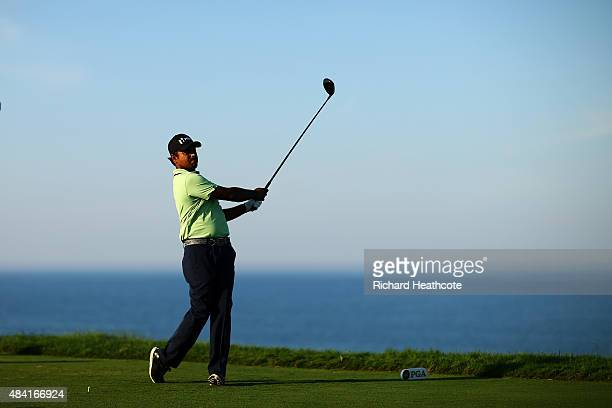 Anirban Lahiri of India plays his shot from the 16th tee during the third round of the 2015 PGA Championship at Whistling Straits on August 15 2015...