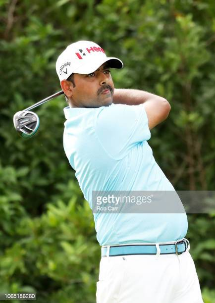 Anirban Lahiri of India plays his shot from the 17th tee during the first round of the Mayakoba Golf Classic at El Camaleon Mayakoba Golf Course on...