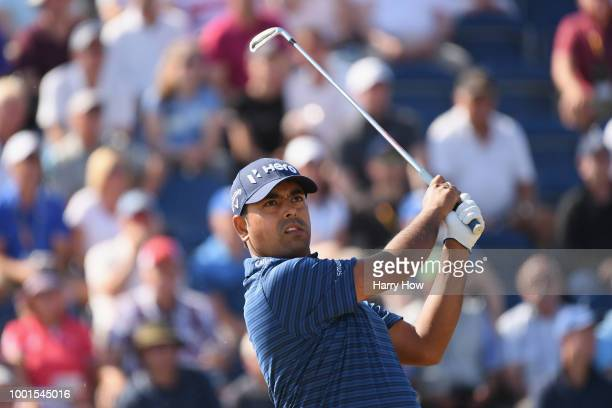 Anirban Lahiri of India plays his shot from the third tee during the first round of the 147th Open Championship at Carnoustie Golf Club on July 19...