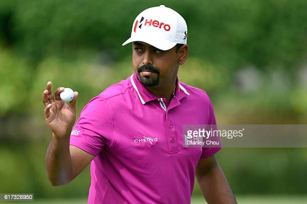 Anirban Lahiri of India reacts after sinking a birdie during day four of the 2016 CIMB Classic at TPC Kuala Lumpur on October 23 2016 in Kuala Lumpur...