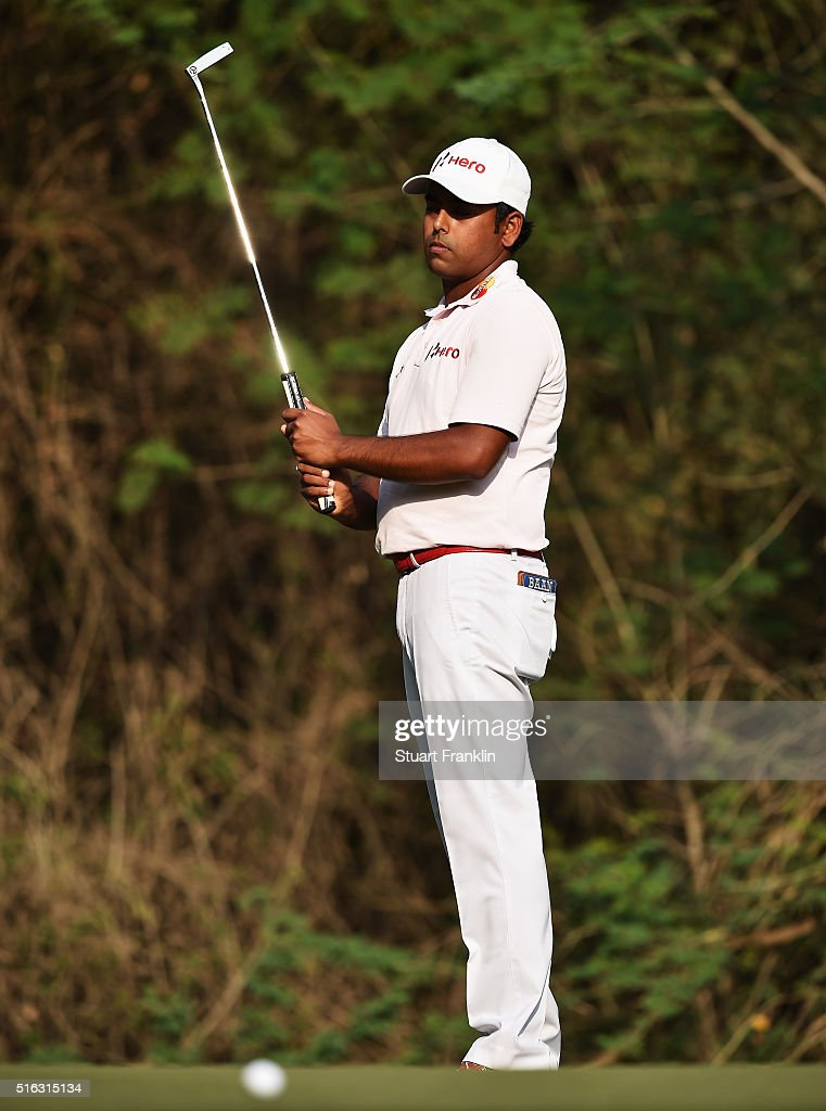 Anirban Lahiri of India reacts to a shot during the second round of the Hero Indian Open at Delhi Golf Club on March 18, 2016 in New Delhi, India.