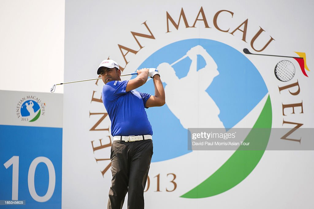 Anirban Lahiri of India tees of off on the 10th hole during round three of the Venetian Macau Open on October 19, 2013 at the Macau Golf & Country Club in Macau. The Asian Tour tournament offers a record US$ 800,000 prize money which goes through October 20.