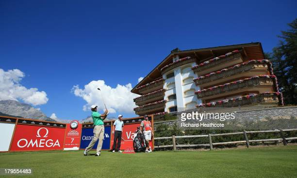 Anirban Lahiri of India tee's off a the 7th during the first round of the Omega European Masters at the Crans-sur-Sierre Golf Club on September 5,...