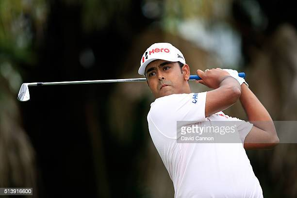 Anirban Lahiri of India tees off on the 13th hole during the third round of the World Golf ChampionshipsCadillac Championship at Trump National Doral...