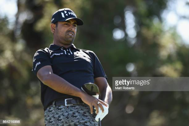 Anirban Lahiri of India watches his tee shot on the 18th hole during the third round of the CJ Cup at Nine Bridges on October 21 2017 in Jeju South...
