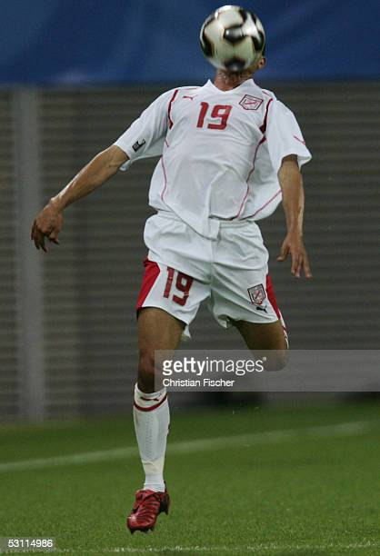 Anis Ayari of Tunisia in action during the match between Australia and Tunisia for the FIFA Confederations Cup 2005 at the Zentralstadium on June 21...