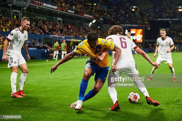 Anis Ben Slimane of Brondby IF and Filip Soucek of AC Sparta Praha compete for the ball during the UEFA Europa League match between Brondby IF and AC...