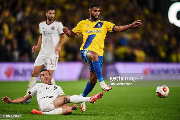 Anis Ben Slimane of Brondby IF compete for the ball during the UEFA Europa League match between Brondby IF and AC Sparta Praha at Brondby Stadion on...