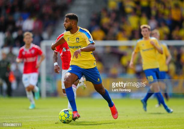Anis Ben Slimane of Brondby IF controls the ball during the Danish 3F Superliga match between Vejle Boldklub and Brondby IF at Vejle Stadion on...