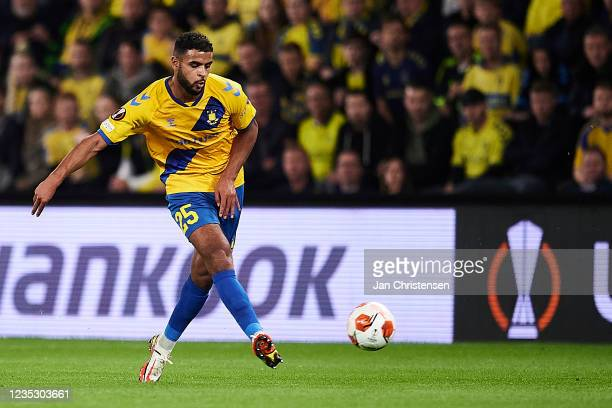 Anis Ben Slimane of Brondby IF in action during the UEFA Europa League match between Brondby IF and AC Sparta Praha at Brondby Stadion on September...