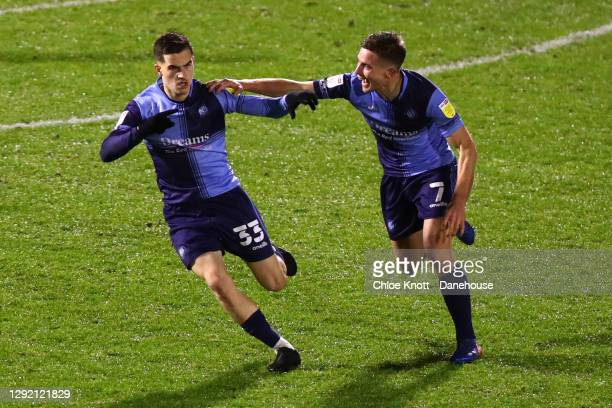 Anis Mehmeti of Wycombe Wanderers celebrates scoring his teams first goal during the Sky Bet Championship match between Wycombe Wanderers and Queens...