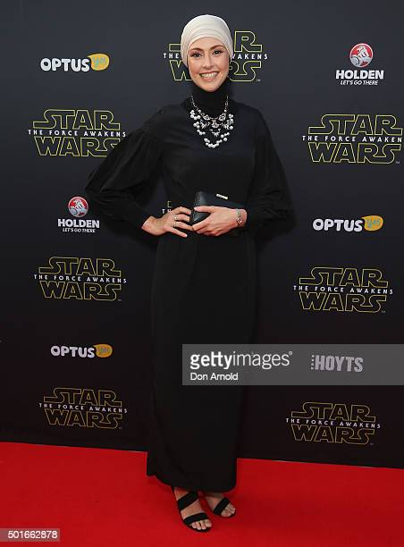 Anisa Buckley arrives ahead of the 'Star Wars The Force Awakens' Australian premiere on December 16 2015 in Sydney Australia