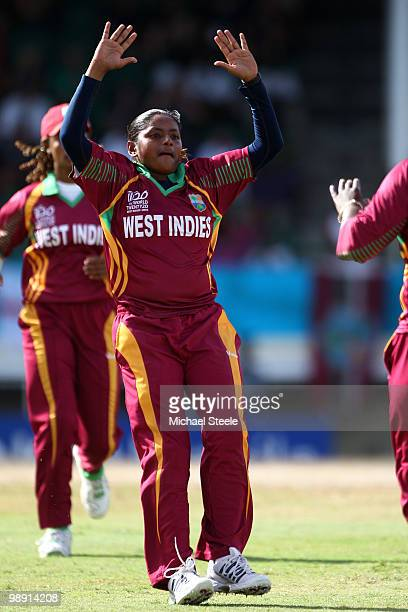 Anisa Mhammed celebrates after taking the wicket of Charlotte Edwards during the ICC T20 Women's World Cup Group A match between West Indies and...