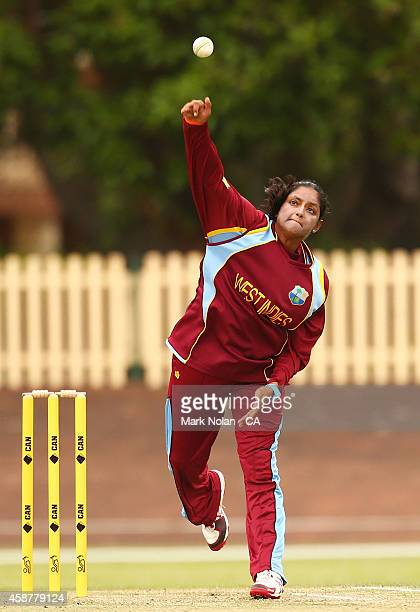 Anisa Mohammed of the West Indies bowls during game one of the women's One Day International series between Australia and the West Indies at...