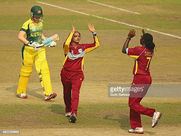 Anisa Mohammed of the West Indies celebrates after dismissing Jess Cameron of Australia during the ICC Women's World Twenty20 Bangladesh 2014 1st...